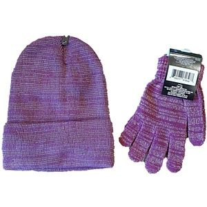 Mod Me Over Accessories - NEW Purple & Silver Hat & Gloves